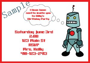 birthday invitations personalized robot theme