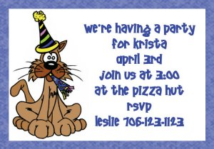 birthday invitations personalized cat party hat