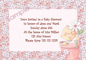 baby shower invitations personalized baby in flower pot