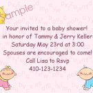baby shower invitations personalized cute boy or girl alphabet back ground