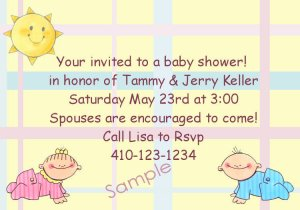 baby shower invitations personalized cute boy or girl with plaid background