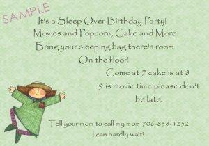 birthday sleep over invaitations personalized girl jumping