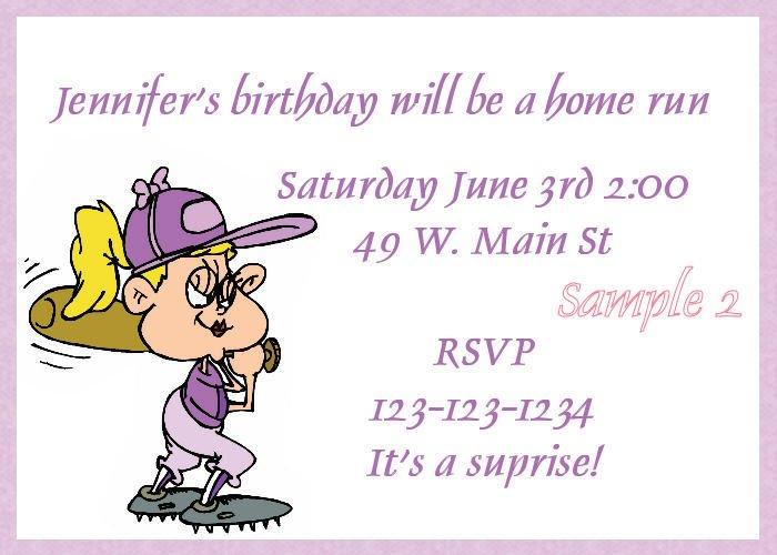 Girl's Baseball invitation