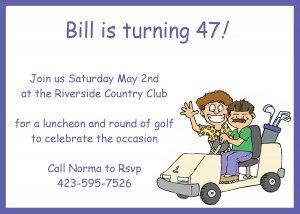 Golf Cart Invitation