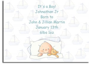 baby shower invitations personalized baby in bed with sail boat background