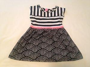 Circo, Toddler Girls, Dress Open Back, Size 2T  Black/White/Pink Coord Print