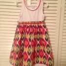 Gymboree, Toddler Girts, Dress Size 5, White w/ Pastel Geometric Print Design
