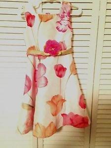 Jenny & Me, Toddler Girls ,Dress, Size 4, White w/ Pastel  Floral  Print