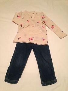 Oshkosh 2 Pc,Shirt/Jeans, Size 2T, Blue Denim w/ Off white/Floral Print Shirt