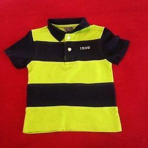 Izod, Toddler Boys, Shirt, Size  3T Green/Navy Blue StripedShort Sleeve
