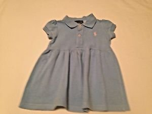 Ralph Lauren, Infant Dress  Size 12 months, Light Blue w/ Pink Emblem
