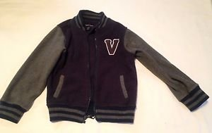 Class Club, Toddler Boys, Jacket, Size 4/5, Gray w/, Navy Blue,Trim, Varsity