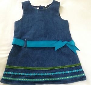 Bonnie Jean, Toddler Girls, Dress,Size 3T, Blue Denim w/ Teal/Green trim