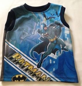 "Batman, Toddler Boys Shirt  , Size 4, "":Batman"" Print Blue, Sleeveless"
