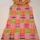 Crazy 8, Toddler Dress  Size 5, Pastel Plaid. neck ruffles, back zipper