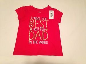 """NWT,The children's Place Infant Girls, Blouse/ Size 18-24 mo, Red""""The Best Dad"""""""