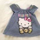 Hello Kitty, Infant Girls, Blouse/ Size  6-9 mos, Blue Denim, Hello Kitty