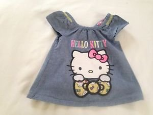Hello Kitty, Infant Girls, Blouse/ Size  6-9 mos, Blue Denim, Hello Kitty