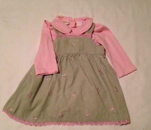 Little Billy,  Infant Girts, Dress, Size 12 months, Khaki/Pink  Floral Print