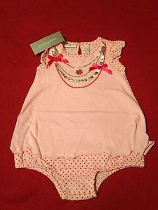 First Impressions, Infant Girls, One Piece, 12 months, Pink w/ silver trim neckl