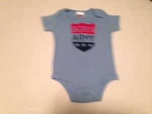 """One Piece, 12 months,, """"Born Army""""  Print, Blue/Red"""