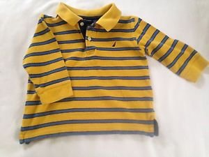 Nautica, Toddler Boys, Size 2, Yellow/Blue Striped W/ Blue Emblem, Polo