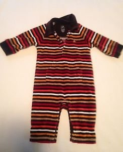Bapy Gap, Infant Boys Size 3-6 months Brown/Multi-color striped andTaupe Emblem