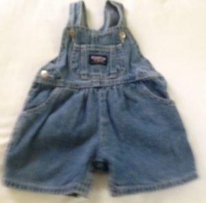 Oshkosh, Infant Girls, Overalls/Shorts, 3-6months, Blue Denim w/Pink emblem