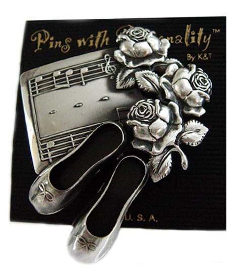 Designer-Pewter Metal Ballet Slippers & Roses Pin