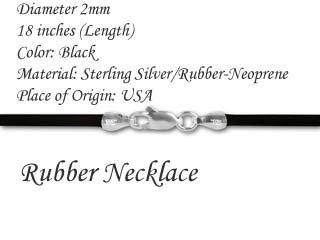 "18"" 2.0mm Black Rubber (Neoprene) Necklace"