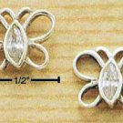 A Pair of Sterling Silver OPAL Cubic Zirconia (CZ-Crystal) Open Butterfly Post Earrings