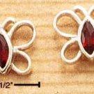 A Pair of Sterling Silver GARNET Cubic Zirconia (CZ-Crystal) Open Butterfly Post Earrings
