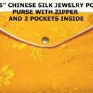 Orange Color Chinese Silk Jewelry Pouch Purse with Zipper & 2-Pocket inside