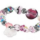 NEW FASHION! Mixed-Beaded Chic Pink Stretch Bracelet  (FREE mini Gift Bag)