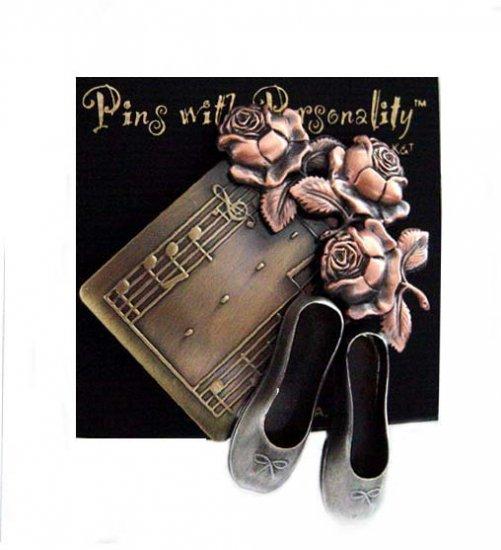 Designer-Bronze Metal Ballet Slippers & Roses Pin