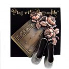 Designer-Bronze Metal Ballet Slippers & Roses Pin