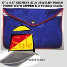 Purplish Blue Color Chinese Silk Jewelry Pouch Purse with Zipper & 2-Pocket inside