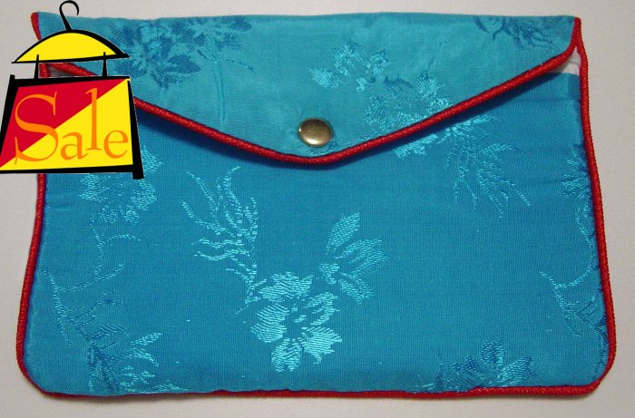 Blue Color Chinese Silk Jewelry Pouch Purse with Zipper & 2-Pocket inside