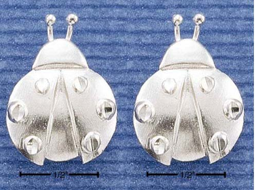 (FREE GIFT BOX) A PAIR OF STERLING SILVER SATIN CUTIE LADY BUGS POST EARRINGS