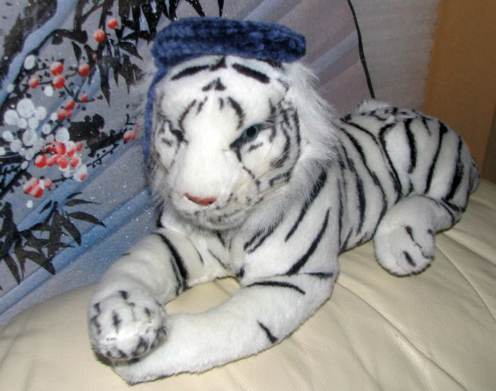 "NEW WITHOUIT TAGS Plush 31"" White Tiger-Stuffed Animal With MINI HANDMADE CROCHET HAT"