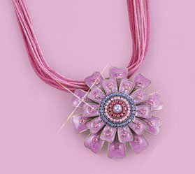 NEW FASHION TREND Multi Cord Necklace With Pink Flower Pendant -Pin/Brooch