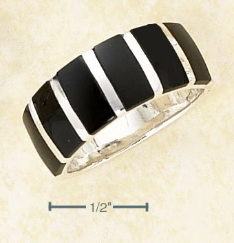 NEW TREND! 0.925 STERLING SILVER 8MM BAND WITH BLACK ONYX STRIPES WOMEN'S RING - Size 6