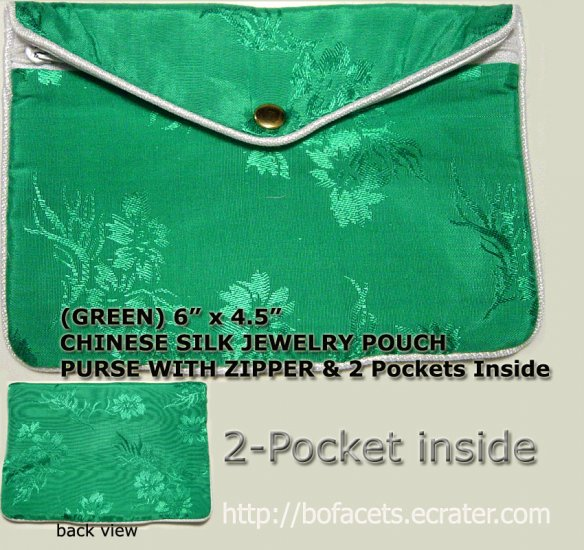 Green Color Chinese Silk Jewelry Pouch Purse with Zipper & 2-Pocket inside