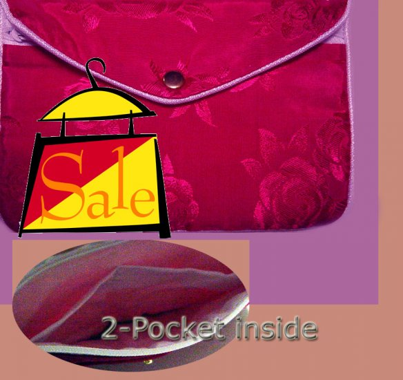 Magenta Color Chinese Silk Jewelry Pouch Purse with Zipper & 2-Pocket inside