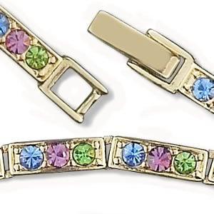 Ready-to-Wear High-Quality Multicolored Crystal Rhinestones Goldtone Bracelet