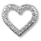 """VALENTINE"" BIG HEART Clear Crystal Rhinestones Pin/Brooch"