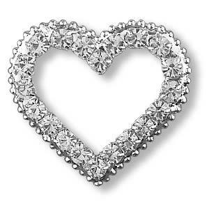 """VALENTINE"" BIG HEART Clear Crystal Rhinestones Pin/Brooch"