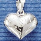 NEW 0.925 STERLING SILVER SMALL WIDE ETCHED PUFFED HEART PENDANT