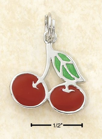 NEW! NICE! 0.925 Sterling Silver Rhodium Plated Enamel Cherries Charm