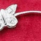 Shiny! Lively! Style-Link 0.925 Sterling Silver Cubic Zirconia BUTTERFLY FILIGREE LINK BRACELET